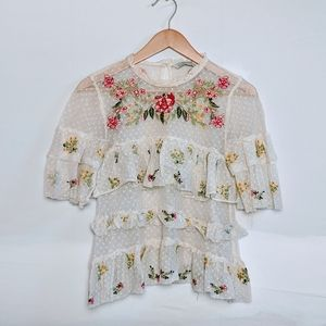 Floral Lace Embroidered Sheer Blouse